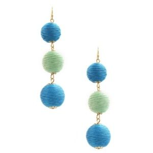 Triple Stack Bon Bon Earrings in Blue & Green